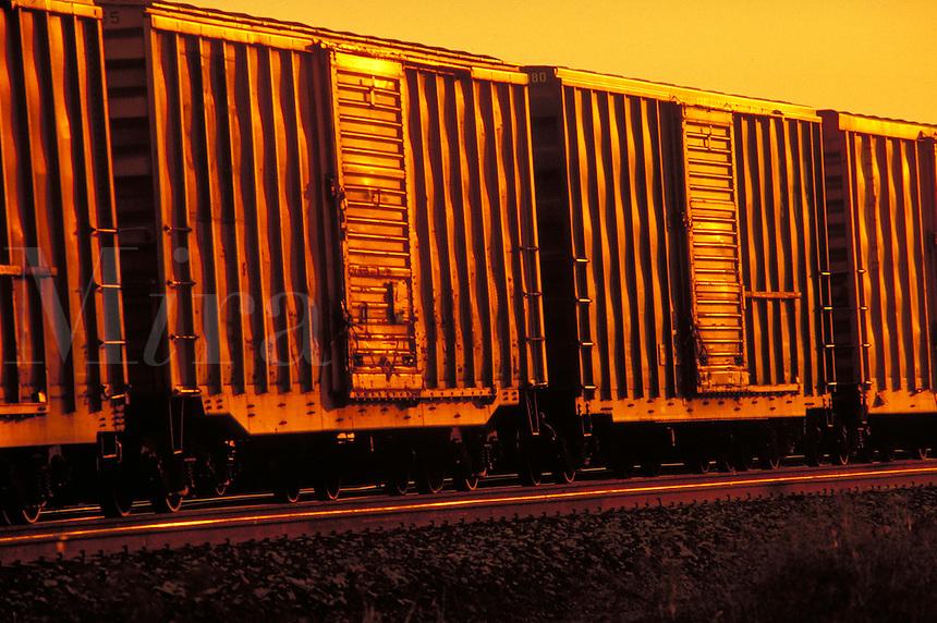 Row of identical Box Cars shot at sundown. Houston Texas USA Inglewood Yard.
