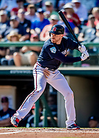 25 February 2019: Atlanta Braves first baseman Freddie Freeman in action during a pre-season Spring Training game against the Washington Nationals at Champion Stadium in the ESPN Wide World of Sports Complex in Kissimmee, Florida. The Braves defeated the Nationals 9-4 in Grapefruit League play in what will be their last season at the Disney / ESPN Wide World of Sports complex. Mandatory Credit: Ed Wolfstein Photo *** RAW (NEF) Image File Available ***