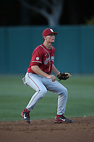 Jack Strunc (2) of the Washington State Cougars in the field during a game against the Southern California Trojans at Dedeaux Field on March 13, 2015 in Los Angeles, California. Southern California defeated Washington State, 10-3. (Larry Goren/Four Seam Images)