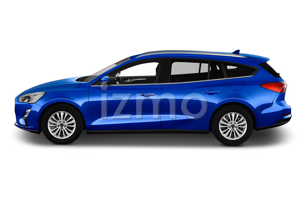 Car driver side profile view of a 2018 Ford Focus Clipper Titanium Business 5 Door Wagon