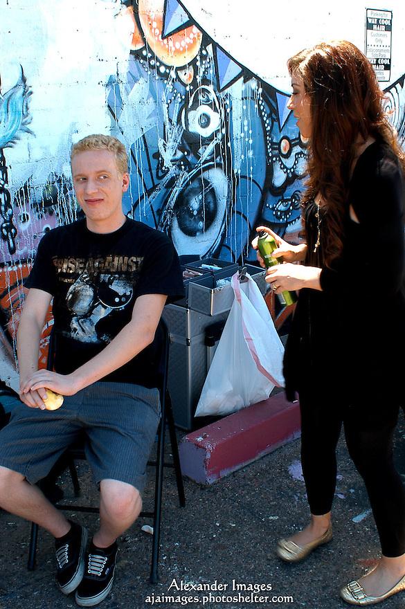 AJ Alexander - Make Up Artist Jessica Fierro working on Mat Vansen on the set of Mind Over Matter on Friday May 13, 2011..Photo by AJ Alexander