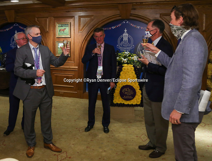 November 7, 2020 : Connections for Glass Slippers at Champion's Terrace after the Turf Sprint on Breeders' Cup Championship Saturday at Keeneland Race Course in Lexington, Kentucky on November 7, 2020. Ryan Denver/Eclipse Sportswire/Breeders' Cup/CSM