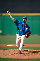 Clearwater Threshers relief pitcher Blake Quinn (55) delivers a pitch during a game against the Florida Fire Frogs on June 1, 2018 at Spectrum Field in Clearwater, Florida.  Clearwater defeated Florida 2-0 in a game that was started on May 19th but called in the fifth inning due to weather.  (Mike Janes/Four Seam Images)