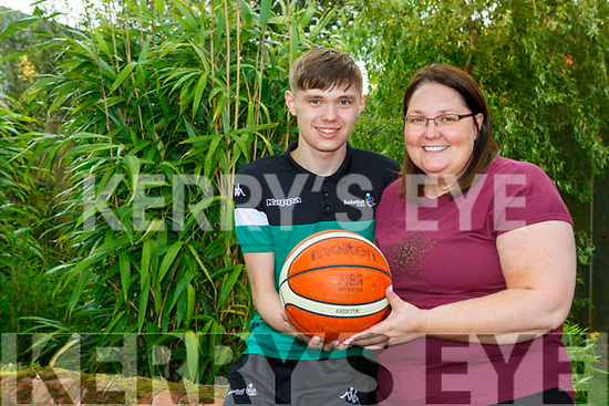 Killarney basketballer Jamie O'Sullivan with his mum Theresa who has been selected to play for Ireland