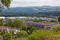 Pictured: The view of the Morfa area from Mayhill. Wednesday 16 June 2021<br /> Re: Riot aftermath in the Mayhill area of Swansea, Wales, UK.