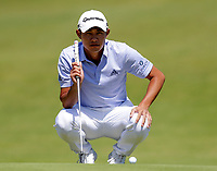 16th July 2021; Royal St Georges Golf Club, Sandwich, Kent, England; The Open Championship Tour Golf, Day Two; Collin Morikawa (USA) putts for a birdie on the 17th hole