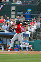 Potomac Nationals outfielder Isaac Ballou (10) at bat during a game against the Myrtle Beach Pelicans at Ticketreturn.com Field at Pelicans Ballpark on May 25, 2015 in Myrtle Beach, South Carolina.  Myrtle Beach defeated Potomac 3-0. (Robert Gurganus/Four Seam Images)