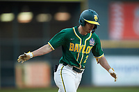 Nick Loftin (2) of the Baylor Bears rounds third base after hitting a home run against the LSU Tigers in game five of the 2020 Shriners Hospitals for Children College Classic at Minute Maid Park on February 29, 2020 in Houston, Texas. The Bears defeated the Tigers 6-4. (Brian Westerholt/Four Seam Images)