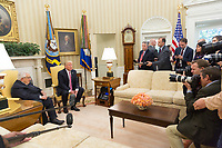 President Donald Trump speaks with reporters during his meeting with former National Security Advisor and Secretary of State Henry Kissinger, Wednesday, May 10, 2017, in the Oval Office of the White House in Washington, D.C. (Official White House Photo by Shealah Craighead)
