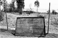 Rwanda. Gitagata. Prison for 152 children, aged 4 to 14, all convicted for active involvement (murder) in the 1994 rwandese genocide. Reeducation camp for minors. School blackboard. Writings. © 1995 Didier Ruef