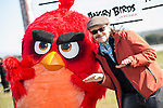 "Santiago Segura playing with Red Bird during the presentation of the film ""Angry Birds"" at Hipodromo de Zarzuela in Madrid. April 25,2016. (ALTERPHOTOS/Borja B.Hojas)"