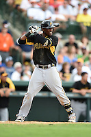 Outfielder Starling Marte (6) of the Pittsburgh Pirates during a spring training game against the Baltimore Orioles on March 23, 2014 at McKechnie Field in Bradenton, Florida.  Baltimore and Pittsburgh played to a 7-7 tie.  (Mike Janes/Four Seam Images)