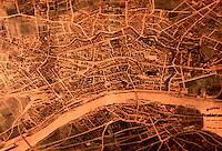 Frankfurt: Malerischer Plan von Frankfurt von F.W. Delkeskamp, Stahlstich 1864. Reference only.