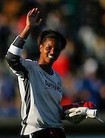 Goalkeeper Karina LeBlanc (23) of the Los Angeles Sol salutes the fans after the game. The Los Angeles Sol defeated Sky Blue FC 2-0 during a Women's Professional Soccer match at TD Bank Ballpark in Bridgewater, NJ, on April 5, 2009. Photo by Howard C. Smith/isiphotos.com