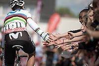 World Champion Alejandro Valverde (ESP/Movistar) pre race reaching out for high fives. <br /> <br /> 83th Flèche Wallonne 2019 (1.UWT)<br /> 1 Day Race: Ans – Huy 195km<br /> <br /> ©kramon