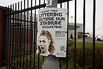 St Mirren 4 The New Saints 1, 19/02/2017. Paisley 2021 Stadium, Scottish Challenge Cup. An anti-littering poster outside the Paisley2021 Stadium, pictured before Scottish Championship side St Mirren played Welsh champions The New Saints in the semi-final of the Scottish Challenge Cup for the right to meet Dundee United in the final. The competition was expanded for the 2016-17 season to include four clubs from Wales and Northern Ireland as well as Scottish Premier under-20 teams. Despite trailing at half-time, St Mirren won the match 4-1 watched by a crowd of 2044, including 75 away fans. Photo by Colin McPherson.