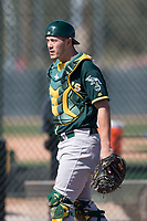 Oakland Athletics catcher Collin Theroux (55) during Spring Training Camp on February 24, 2018 at Lew Wolff Training Complex in Mesa, Arizona. (Zachary Lucy/Four Seam Images)