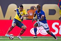 Action photo during the match Ecuador vs Haiti at MetLife Stadium Copa America Centenario 2016. ---Foto  de accion durante el partido Ecuador vs Haiti, En el Estadio MetLife Partido Correspondiante al Grupo - B -  de la Copa America Centenario USA 2016, en la foto: (I)-(D) Jefferson Moreno, Stephane Lambese<br /> <br /> -- 12/06/2016/MEXSPORT/Javier Ramirez.