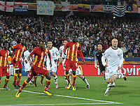 U.S. goalkeeper creeps into the mix on a corner kick, late into the second overtime period. Ghana defeated the U.S., 2-1, in extra time to advance to the quarterfinals, Saturday, June 26th, at the 2010 FIFA World Cup in South Africa..