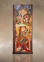 Gothic altarpiece depicting top, Calvary, bottom, St Sebastia (Sebastian) , by Joan Mates of Villafranca de Penedes, circa 1417-1425, from the refrectory of Pia Almoina, Barcelona, Temperal and gold leaf on wood.  National Museum of Catalan Art, Barcelona, Spain, inv no: MNAC  32340. Joan Mates was a Spanish painter of the International Gothic style. Against a art background.