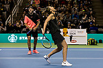 March 05, 2018: Savannah Guthrie reacts with partner Jack Sock (USA) during their doubles set against Roger Federer (SUI) and Bill Gates at The Match for Africa 5 Silicon Valley played at the SAP Center in San Jose, California. ©Mal Taam/TennisClix