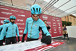Astana Pro Team riders at sign on before the start of the 2018 Strade Bianche NamedSport race running 184km from Siena to Siena, Italy. 3rd March 2018.<br /> Picture: LaPresse/Massimo Paolone | Cyclefile<br /> <br /> <br /> All photos usage must carry mandatory copyright credit (© Cyclefile | LaPresse/Massimo Paolone)