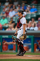Indianapolis Indians catcher Steven Baron (44) during an International League game against the Syracuse Mets on July 16, 2019 at Victory Field in Indianapolis, Indiana.  Syracuse defeated Indianapolis 5-2  (Mike Janes/Four Seam Images)