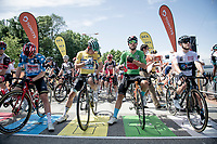 start line with jersey wearers:<br /> - green: Sonny Colbrelli (ITA/Bahrain - Victorious)<br /> - yellow: Lukas Pöstlberger (AUT/BORA - hansgrohe)<br /> - polka-dot: Matthew Holmes (GBR/Lotto Soudal)<br /> - white: Ilan Van Wilder (BEL/DSM)<br /> <br /> 73rd Critérium du Dauphiné 2021 (2.UWT)<br /> Stage 6 from Loriol-sur-Drome to Le Sappey-en-Chartreuse (167km)<br /> <br /> ©kramon