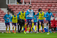 21st November 2020; Bet365 Stadium, Stoke, Staffordshire, England; English Football League Championship Football, Stoke City versus Huddersfield Town; Christopher Schindler of Huddersfield Town leads in the warm up