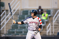 Brandon Dulin (31) of the Kannapolis Intimidators at bat against the Hickory Crawdads in game two of a double-header at Kannapolis Intimidators Stadium on May 19, 2017 in Kannapolis, North Carolina.  The Intimidators defeated the Crawdads 9-1.  (Brian Westerholt/Four Seam Images)