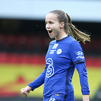 14th March 2021; Vicarage Road, Watford, Herts;  Guro Reiten of Chelsea celebrates scoring a goal during the FA Womens Continental Tyres League Cup final game between Bristol City and Chelsea at Vicarage Road Stadium in Watford. FA Womens Continental Tyres Cup Final