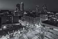 A view of the skyline at twilight in White Plains, New York.