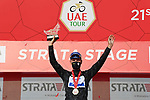 Joao Almeida (POR) Deceuninck-Quick Step retains the Black Jersey at the end of Stage 3 of the 2021 UAE Tour running 166km from Al Ain to Jebel Hafeet, Abu Dhabi, UAE. 23rd February 2021.  <br /> Picture: LaPresse/Gian Mattia D'Alberto | Cyclefile<br /> <br /> All photos usage must carry mandatory copyright credit (© Cyclefile | LaPresse/Gian Mattia D'Alberto)
