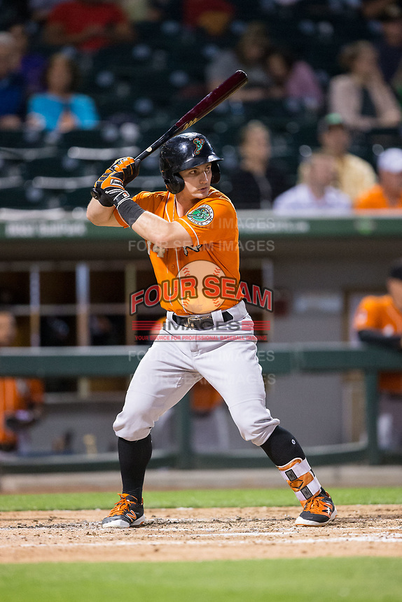 Johnny Giavotella (14) of the Norfolk Tides at bat against the Charlotte Knights at BB&T BallPark on May 2, 2017 in Charlotte, North Carolina.  The Knights defeated the Tides 8-3.  (Brian Westerholt/Four Seam Images)