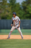 Detroit Tigers Elvis Rubio (43) leads off during a minor league Spring Training game against the Atlanta Braves on March 25, 2017 at the ESPN Wide World of Sports Complex in Orlando, Florida.  (Mike Janes/Four Seam Images)