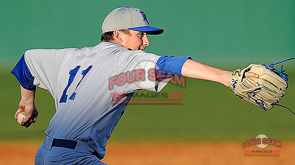 Starting pitcher Beau Dees (11) of the Presbyterian College Blue Hose in a game against the University of South Carolina Upstate Spartans on Friday, February, 21, 2014, at Cleveland S. Harley Park in Spartanburg, South Carolina. Presbyterian won, 5-1, and Dees got the win. (Tom Priddy/Four Seam Images)