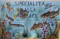 """Europe/Italie/Côte Amalfitaine/Campagnie/Positano : Enseigne du restaurant """"La Cambusa"""" plazza Vespucci proposant des poissons au grill"""