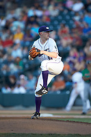 Winston-Salem Dash pitcher Jake Elliott (34) in action against the Down East Wood Ducks at BB&T Ballpark on May 10, 2019 in Winston-Salem, North Carolina. The Wood Ducks defeated the Dash 9-2. (Brian Westerholt/Four Seam Images)