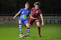 /Lyndsey Van Belle (14) of AA Gent and Lotte Van Den Steen (15) of KRC Genk pictured during a female soccer game between  AA Gent Ladies and Racing Genk on the 12 th matchday of the 2020 - 2021 season of Belgian Scooore Womens Super League , friday 29 th of January 2021  in Oostakker , Belgium . PHOTO SPORTPIX.BE | SPP | DIRK VUYLSTEKE