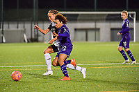 Aalst's forward Daisy Boudewijns (L) and Anderlecht midfielder Kassandra Missipo (12) (R) battle for the ball during a female soccer game between RSC Anderlecht Dames and Eendracht Aalst Ladies  on the fourth matchday of the 2020 - 2021 season of Belgian Womens Super League , Tuesday 13 th of October 2020  in ANDERLECHT , Belgium . PHOTO SPORTPIX.BE | SPP | STIJN AUDOOREN