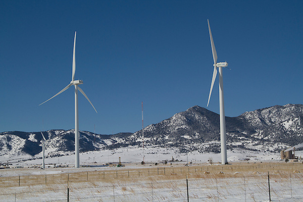 Wind farm in winter, Boulder, Colorado, .  John leads private photo tours in Boulder and throughout Colorado. Year-round Colorado photo tours.