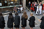 Beating the Bounds, the parish boundaries annually on Ascension Day at All Hallows by the Tower Church, which is the oldest church in the City of London. Children from St Dunstan's College, Catford, beat the bounds out side Pret A Manger.  they return to their roots in the parish of St Dunstan-in-the-East to take an active part in the proceedings.