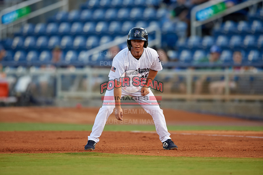 Pensacola Blue Wahoos Ernie De La Trinidad (25) leads off first base during a Southern League game against the Biloxi Shuckers on May 3, 2019 at Admiral Fetterman Field in Pensacola, Florida.  Pensacola defeated Biloxi 10-8.  (Mike Janes/Four Seam Images)