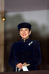 December 23, 2012, Tokyo, Japan - Princess Masako, wife of Crown Prince Naruhito, smiles to a throng of well-wishers from behind the bullet-proof glass panel of the Imperial Palace balcony during a general audience in Tokyo on Sunday, December 23, 2012, on the 79th birthday of Emperor Akihoto. (Photo by AFLO) UUK -mis-