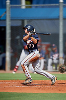 GCL Twins catcher Austin Hale (70) hits a double during a game against the GCL Rays on August 9, 2018 at Charlotte Sports Park in Port Charlotte, Florida.  GCL Twins defeated GCL Rays 5-2.  (Mike Janes/Four Seam Images)