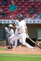 Cedar Rapids Kernels second baseman Luis Arraez (2) at bat during a game against the Dayton Dragons on July 24, 2016 at Perfect Game Field in Cedar Rapids, Iowa.  Cedar Rapids defeated Dayton 10-6.  (Mike Janes/Four Seam Images)