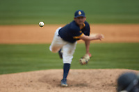 North Carolina A&T Aggies relief pitcher Timothy Davila (44) in action against the North Carolina Central Eagles at Durham Athletic Park on April 10, 2021 in Durham, North Carolina. (Brian Westerholt/Four Seam Images)