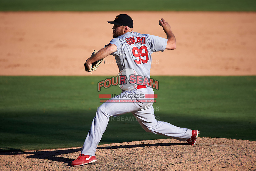Surprise Saguaros pitcher Robby Rowland (99) delivers a pitch during an Arizona Fall League game against the Glendale Desert Dogs on October 24, 2015 at Camelback Ranch in Glendale, Arizona.  Surprise defeated Glendale 18-3.  (Mike Janes/Four Seam Images)