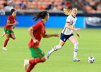 HOUSTON, TX - JUNE 10: Samantha Mewis #3 of the United States looks to pass the ball during a game between Portugal and USWNT at BBVA Stadium on June 10, 2021 in Houston, Texas.
