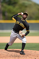 Pittsburgh Pirates pitcher Mister Luciano (98) during a minor league spring training game against the Toronto Blue Jays on March 26, 2015 at Pirate City in Bradenton, Florida.  (Mike Janes/Four Seam Images)